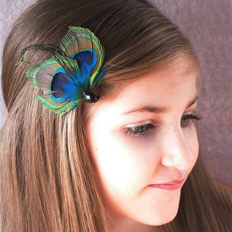 Peacock Feather Clip Wedding Feather Fascinator Bridesmaid Peacock Accessory(China (Mainland))