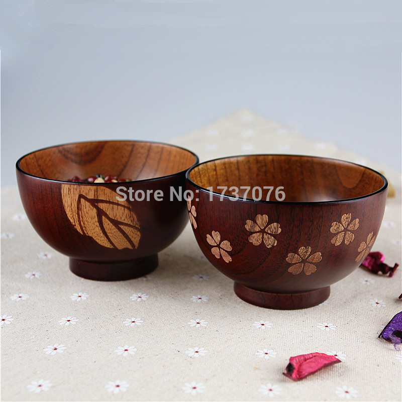 NEW Floral jujube soup wooden bowl Japanese style rice wood tableware set for salad 1 pc(China (Mainland))