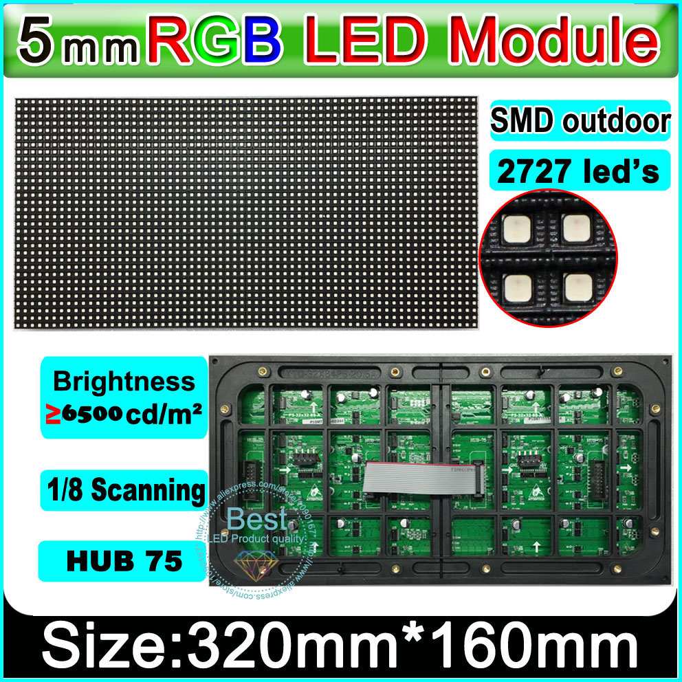 SMD 2727 P5 outdoor Video wall led module,high brightness 5500 nits, 1/8 scan,64*32 P, full color outdoor SMD P5 LED Panel(China (Mainland))