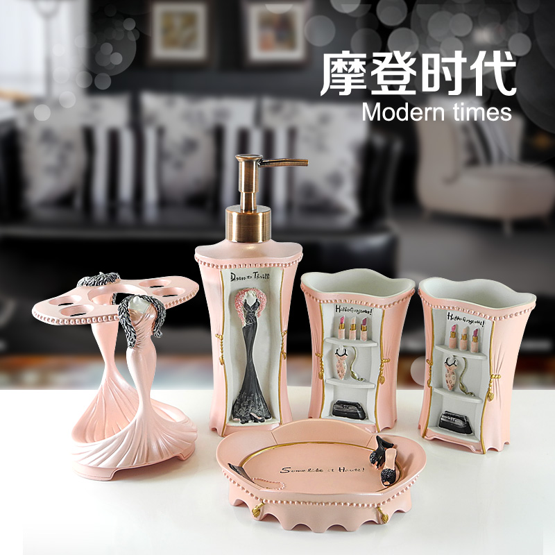 Fashion five pieces bathroom set bathroom set kit quality for Fashion bathroom set