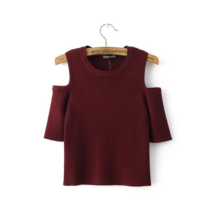 2016 Women Off Shoulder Half Sleeve Knitted Jumper Tops Spring Summer Woman Knitting Slim Short Jumpers Clothes(China (Mainland))