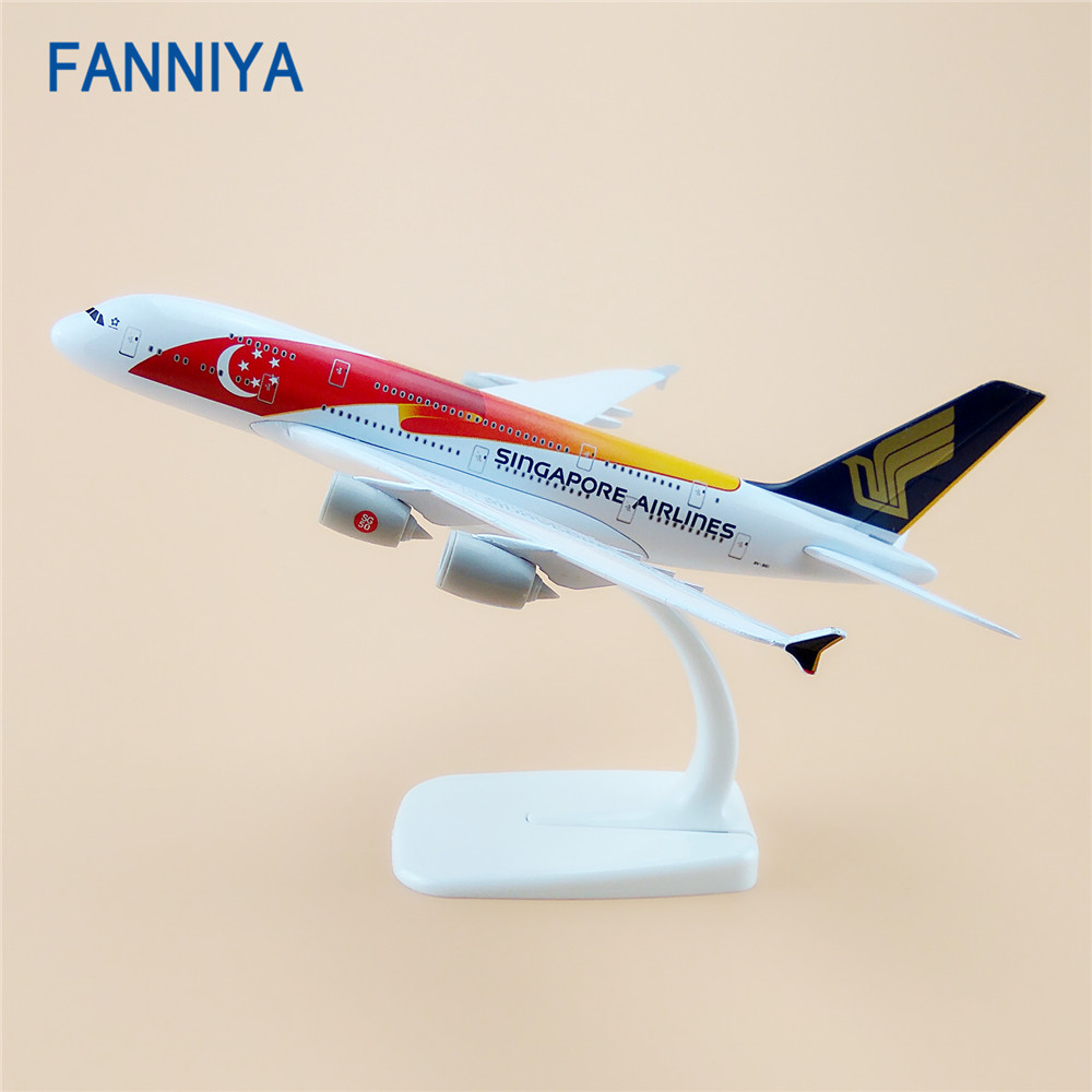 20cm Air Singapore Airlines Airbus 380 A380 Airplane Model Star Moon Flag Airways w Stand Metal Plane Model Aircraft(China (Mainland))