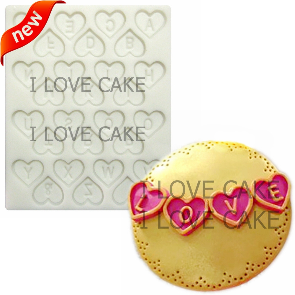 Heart English letter alphabet 3d chocolate silicone mold craft tool silicone fondant mold mold for cupcakes cake decorating tool(China (Mainland))