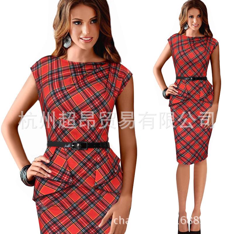 2015 New Women Vintage Elegant Belt font b Tartan b font Peplum Ruched Tunic Plaid Work