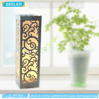 Small LED Table Lamp Wood Plastic Rustic Style Living Room Bedroom Decor Lighting Modern Lampshade E14 110-240V(China (Mainland))