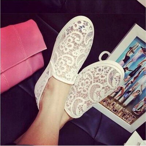2015 summer new lace openwork crochet lazy canvas shoes Zapatillas Mujer help low round flat with flat shoes women(China (Mainland))
