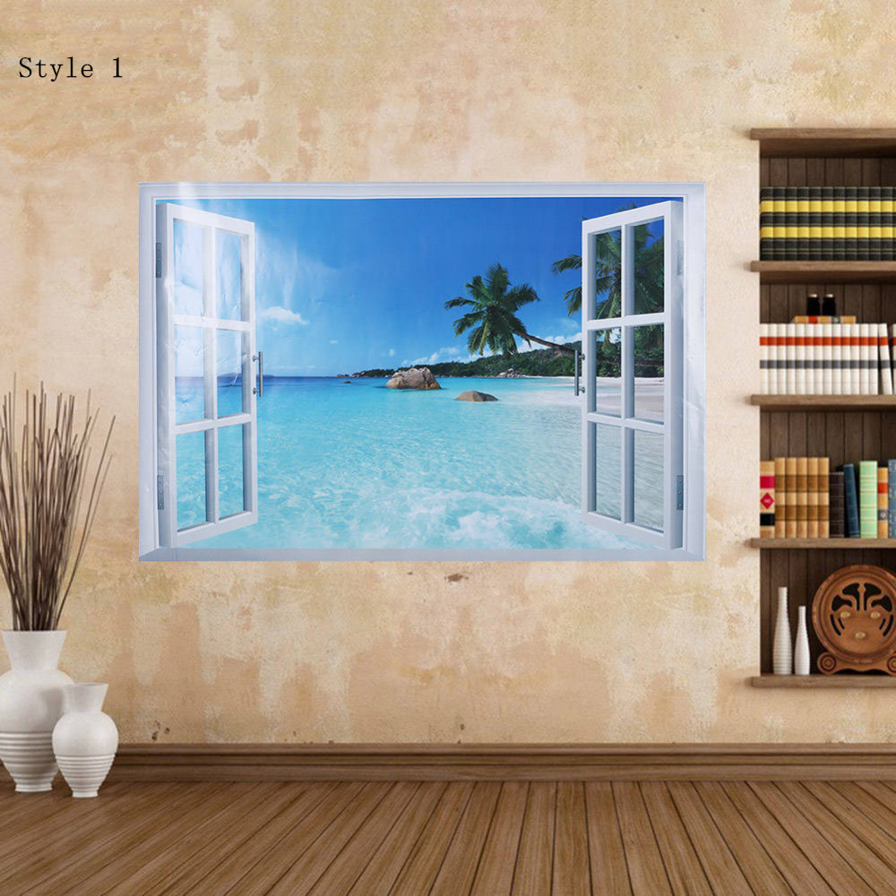 3D Window View Scenery Wall Sticker PVC Removable Decal Mural Art Home Bedroom Living Room Decoration Kids Room Decor
