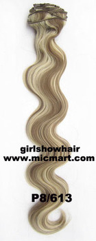 1pc heat resistance synthetic clip in on hair extension body wavy 12pcs/set  130grams P8/613