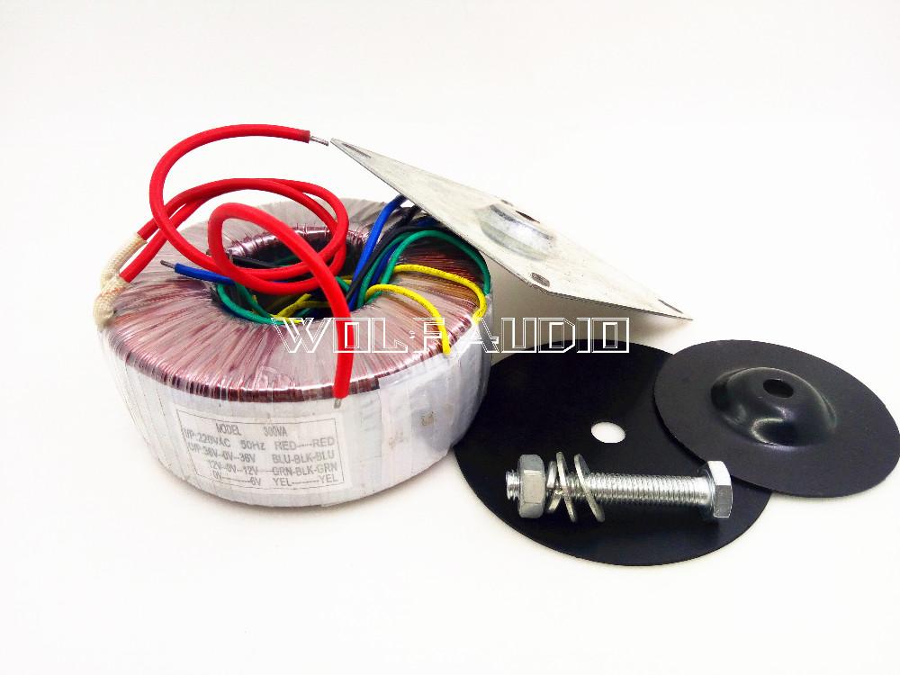 High Quality Pure Copper Transformer High-power 300W 220VAC Toroid Transformer For Audio Amplifier 36V-0-36V 12V-0-12V + 6V