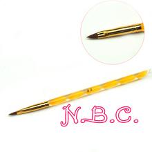 NBC 1x 2-Ways Sable Brush#2 Acrylic UV GEL Nail Art Builder Brush Tips Design acrylic nail brushes set For Manicure(China (Mainland))