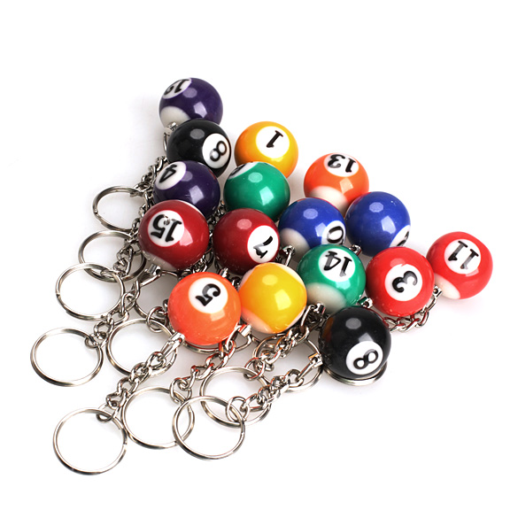 Portable 16PCS Snooker Ball Set Keychain Billiards Pool Keyring Gift 25mm HB88(China (Mainland))