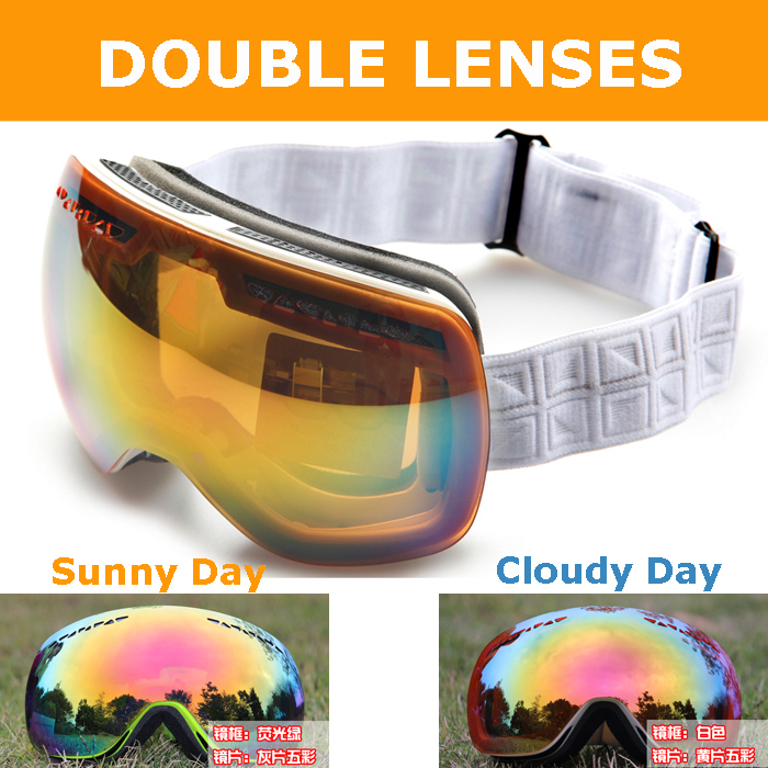 Ski Goggles REVO Double Lenses for Sunny & Cloudy Day, Men Women Snowboard Glasses Bendable, 3-Layer Spouge Wear Over RX Glasses(China (Mainland))