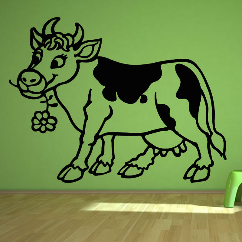 Popular Cute Cartoon Cow Wall Sticker Flower Home Decoration Vinyl Hollow Out Animal Wall Decal For Kids