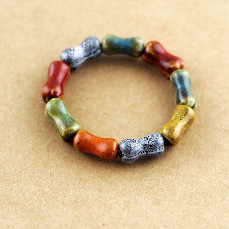 Women Charming Bohemia Ceramic Beads Bracelet Colorful Bangle Elastic Bone Shape Fashion(China (Mainland))