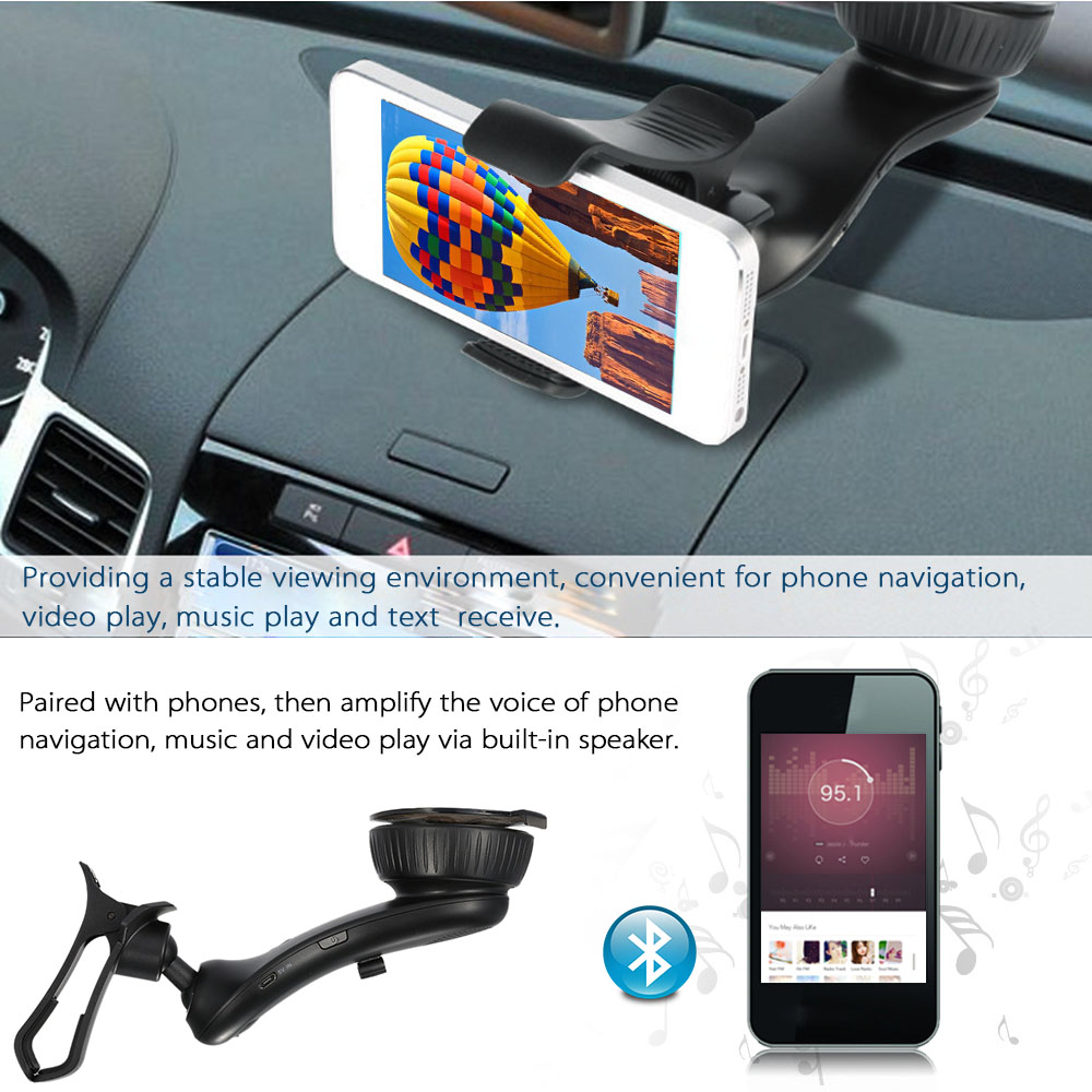 Free ship Vehicle Phone Holder Bluetooth 3.0 EDR Car Holder 360 Rotating Support Music Play USB Charger Handsfree Mic Speaker(China (Mainland))