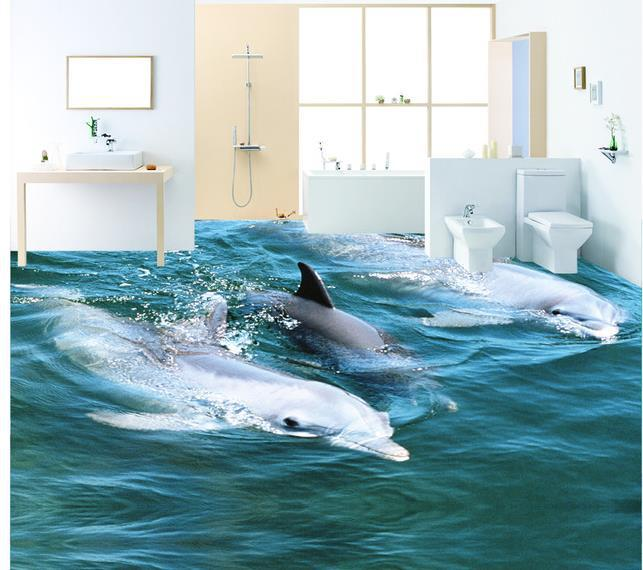 Custom 3d mural wall paper three dimensional large mural for Dolphin wall mural