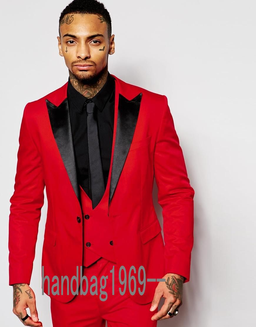 Classic Style One Button Red Groom Tuxedos Groomsmen Mens Wedding Suits Prom Dress Jacket Pants