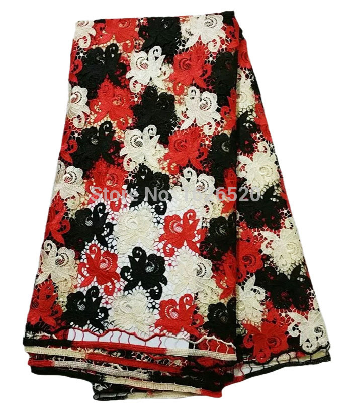 Здесь можно купить  Hot Sale 100% Cotton Embroidery Flowers Pattern African Cord Lace Fabric High Quality Red And Black And White Water Soluble Lace Hot Sale 100% Cotton Embroidery Flowers Pattern African Cord Lace Fabric High Quality Red And Black And White Water Soluble Lace Дом и Сад