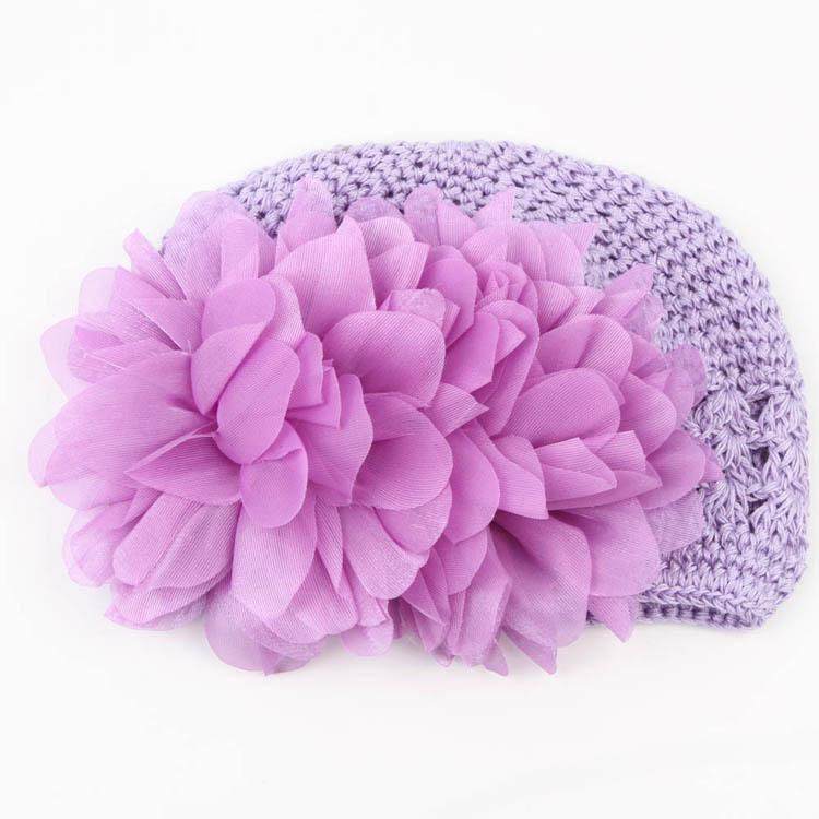 Sweet Flower Crochet Beanie Knitted Cap Hat Newborn Baby Toddlers Girl Warm Handmade Caps 4 Colors Drop Shipping BB-125(China (Mainland))