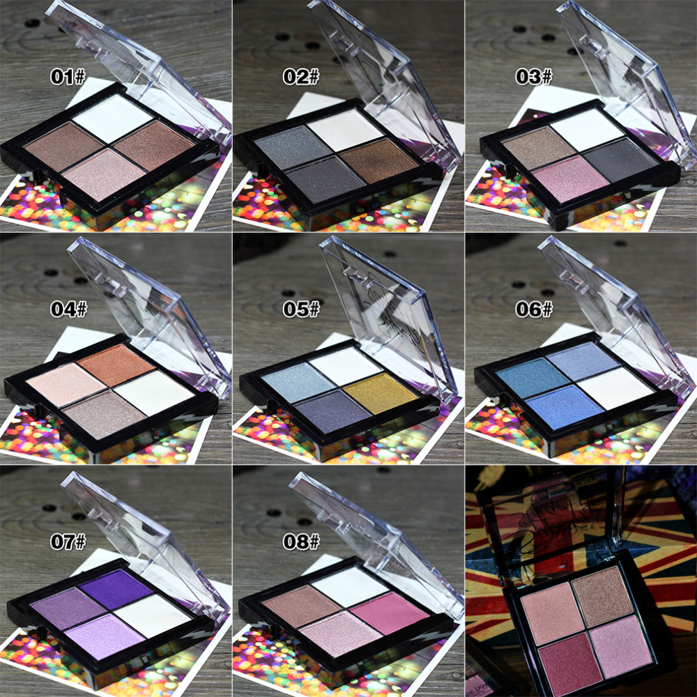 Fashion Eyeshadow Makeup Palette Natural Shimmer Wine Red Eye Shadow 4 Colors Drop Shipping Wholesale(China (Mainland))
