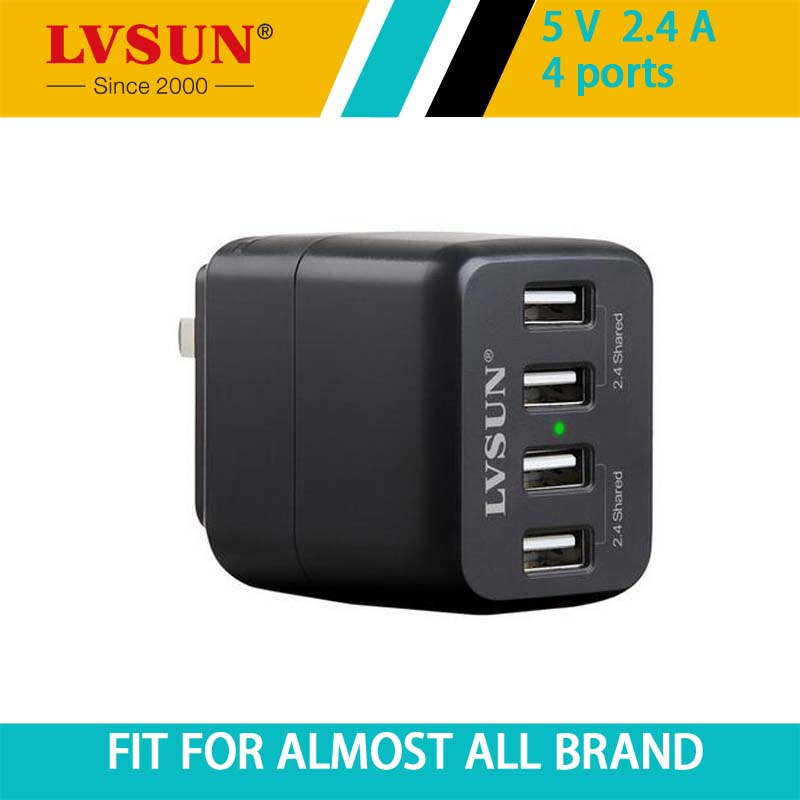 LVSUN AU/EU/ KR/ US/UK 4 Port Universal Travel/ Wall USB Charger For Samsung HUAWEICharger For iPhone 6 6s Plus 5s(China (Mainland))