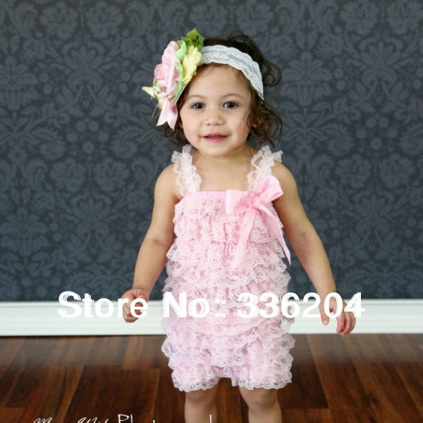 Retail cute fashion Baby romper Girl's Wear lovely princess pink bow lace Romper baby clothes free shipping 31 colors(China (Mainland))