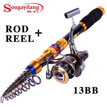 Sougayilang Low Profit 3.6M Telescopic Fishing Rod And 13BB Spinning Fishing Reel Carbon Boat Fishing Rod Combo Set Tackle Kit