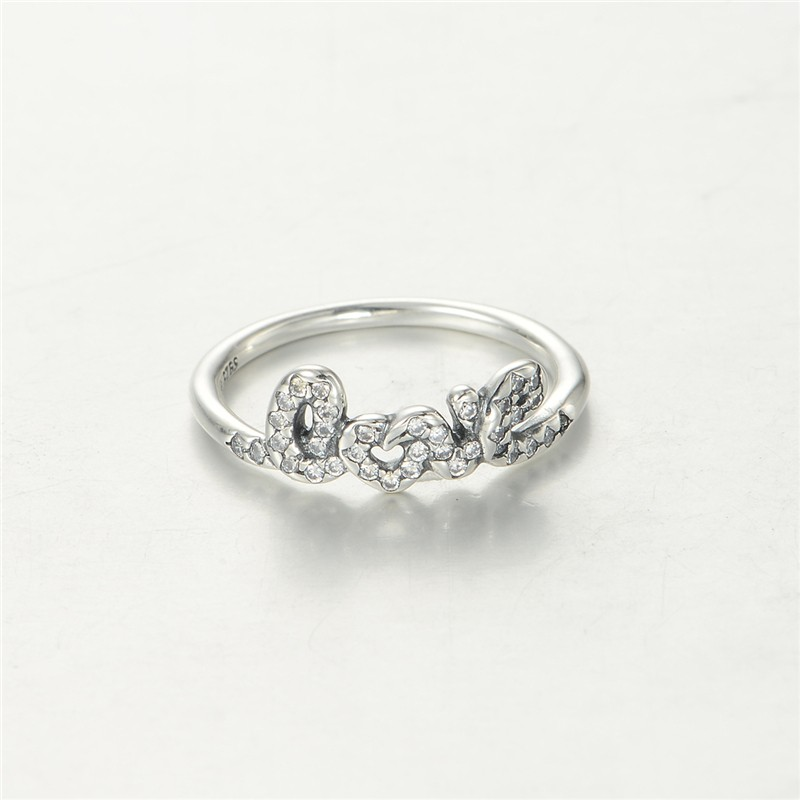 Signature of Love Silver Rings New Original 100% 925 Sterling Silver Jewelry Wedding CZ Rings for Women Free Shipping FLR033(China (Mainland))