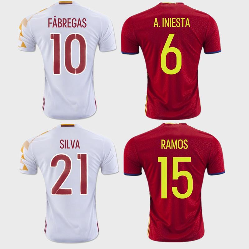 Гаджет  New Arrive 2016 camisetas spain jerseys European Espana soccer jersey Nolito Iniesta Ramos football shirt EURO shipping free None Спорт и развлечения
