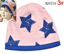 Free Shipping Big Five Star Cotton Beanie Hats Skull Cap For 1-4 Years Toddler Infant Baby Winter Children Warm Accessories(China (Mainland))