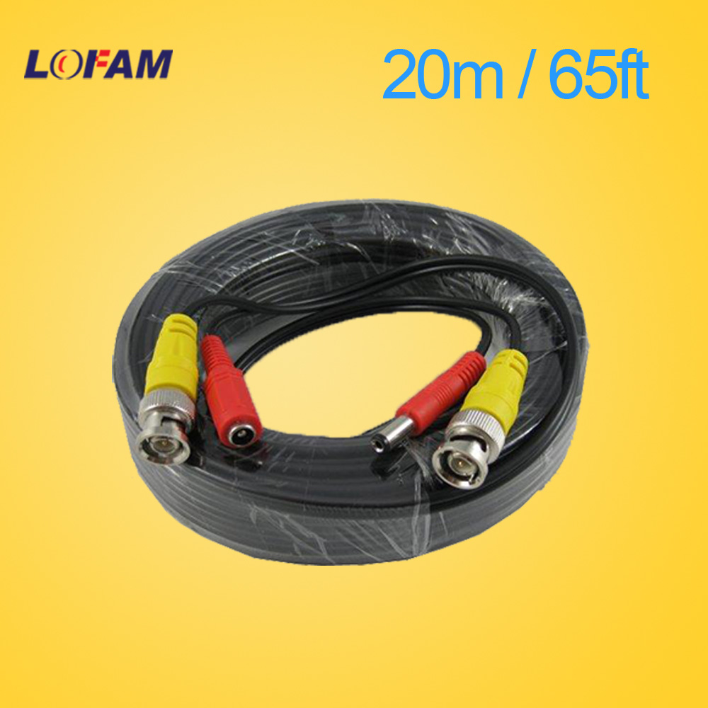 LOFAM 65FT 20M CCTV camera Cable BNC Video Power Coaxial Cable plug and Play Cable for Camera AHD DVR System CCTV accessories(China (Mainland))