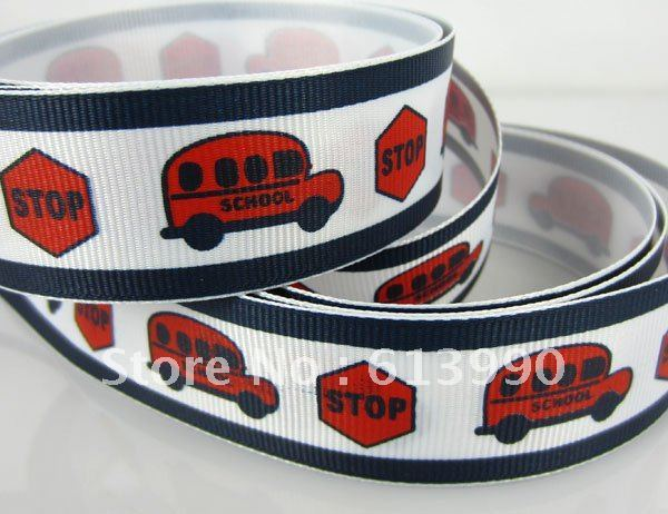 "Free Shipping 50yards 1""(25mm) Printed School Bus Grosgrain Ribbon Scrapbooking"