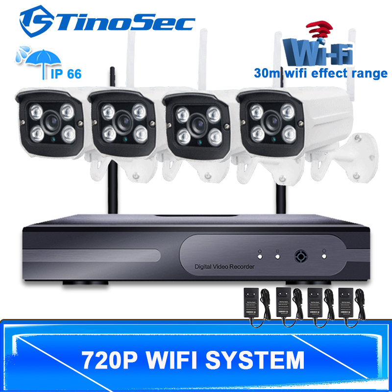 4CH Wireless 1.0MP Array Camera Kit 720P HDMI P2P ONVIF NVR WIFI IP Camera Outdoor IP66 Waterproof Network NVR CCTV System(China (Mainland))