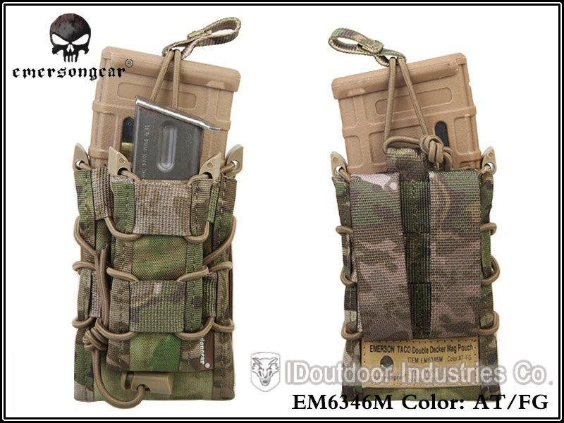EMERSON TACO Double Decker Magazine Pouch military army bag MOLLE 6346 multicam black coyote brown(China (Mainland))