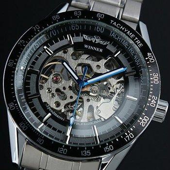 WM174 Mens Black Bezel Skeleton Stainless Steel Automatic Watch