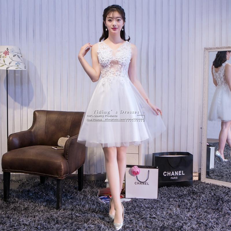 Новый 2016 Короткие Белые Аппликации Цветы Свадебные Платья Реальный Образец Жилетido Де Noiva