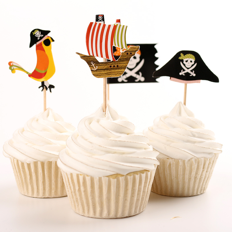 72pcs Pirate Flag Corsair Party Supplies Cartoon Cupcake Toppers Pick Kid Boy Birthday Party Decorations(China (Mainland))