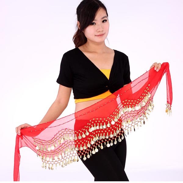 New Vestidos Women Belly Dance Coin Belt Hip Scarf Skirt Wrap Girls Bollywood Dancing Costume(China (Mainland))