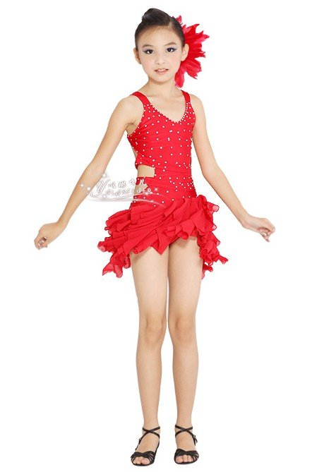 Luxury kid One Piece bling Latin dancewear 6~13T cute girl dance costume with paillette glitter ...