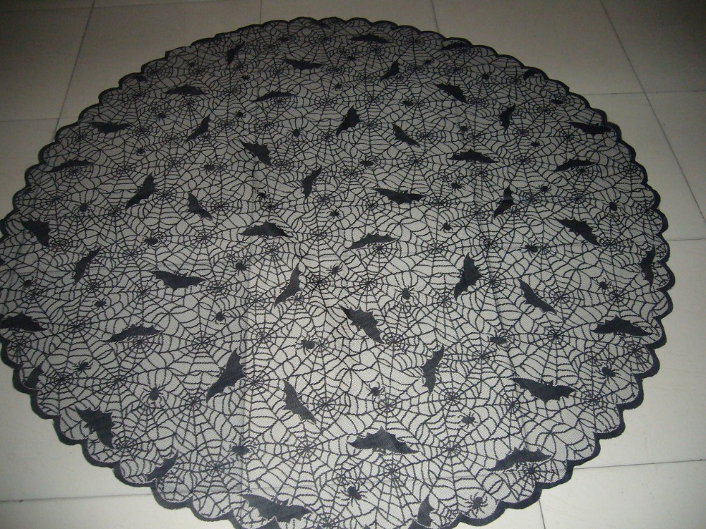 Black Halloween Bat and Lace Spider Web Tablecloths 70 inch Round(China (Mainland))