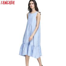 Buy Tangada Fashion Women Long Tank Dress Cotton Blue Ruffles Beach Summer Sleeveless Loose Casual Brand Vestidos Mujer Sundress for $14.99 in AliExpress store
