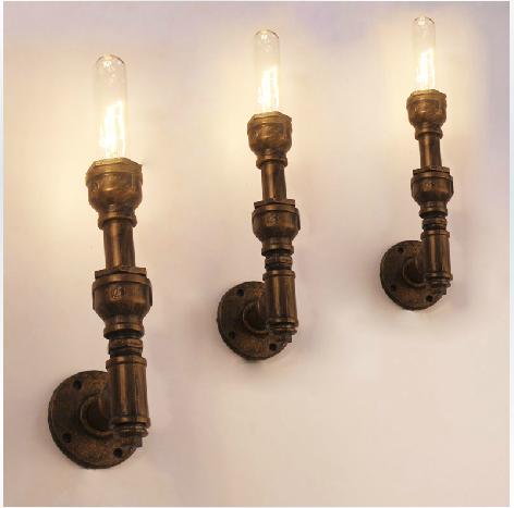Water pipe wall light Loft american vintage aisle wall lamp 120V-240V 40W single wall lamps Free Shipping(China (Mainland))