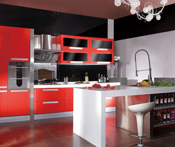 Red And Black Kitchen Design In Kitchen Cabinets From Home Improvement On Ali