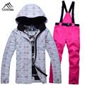 Women outdoor waterproof windproof skiing suits freeshipping 30 degree outdoor sportswear snowboard jackets pants set