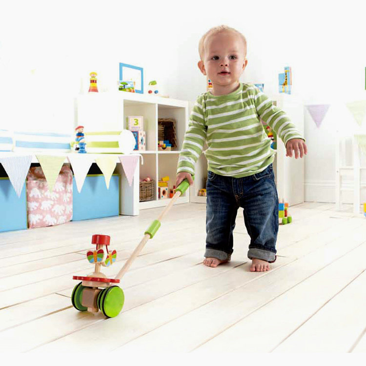 Free delivery animal push & pull can drag toys,children's educational wooden toys To help the baby learning to walk the toys(China (Mainland))