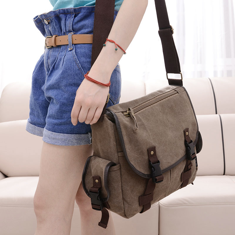 New Fashion Korean Style Casual Canvas Shoulder Bag Women Mulit-pocket Messenger Bag Wholesale(China (Mainland))