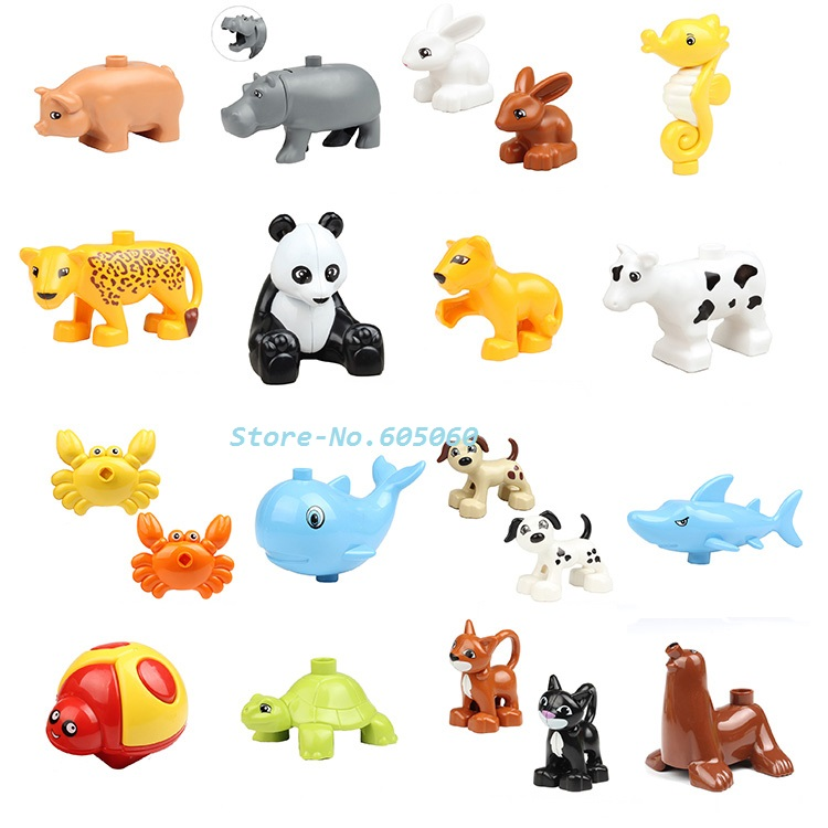 Animal Building Blocks 10pcs/lot Ocean Forest Farm Animal Models baby action Figures toys(China (Mainland))