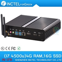 Factory direct sale silent mini pcs with haswell Intel Core i7 4500U 1.8Ghz 4 USB 3.0 HDMI DP Fanless PC