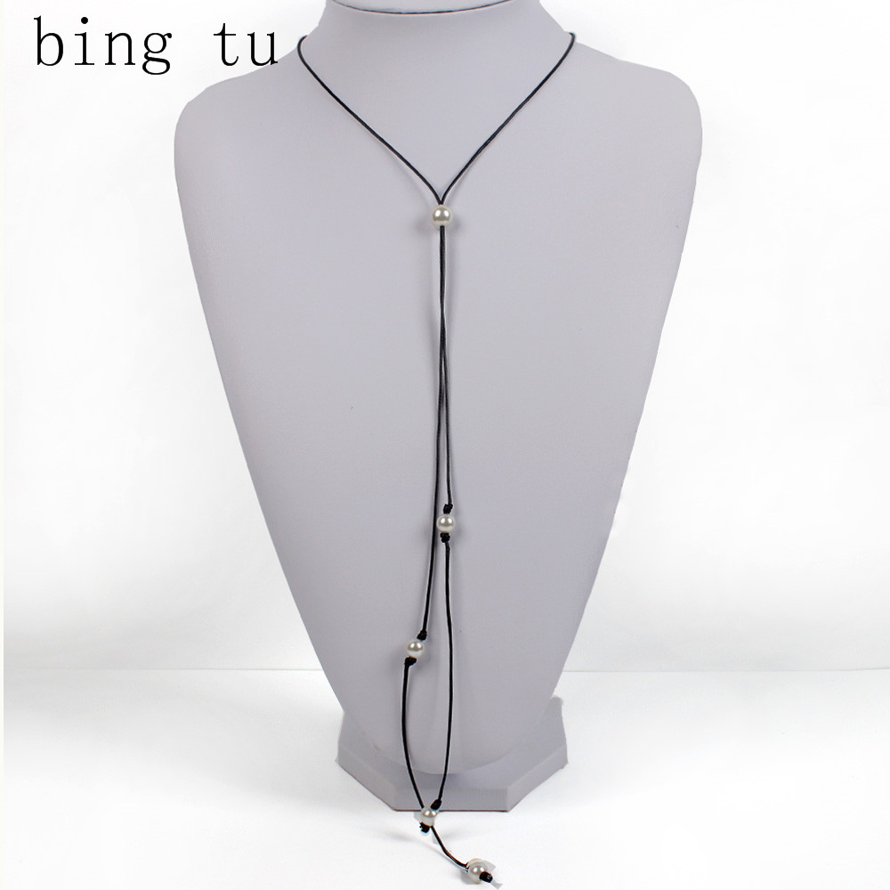 Bing Tu Simple Long Necklace For Women Black Faux Leather Chokers Necklaces  Simulated Pearl Beads Handmade