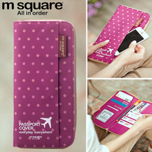 Square M Travel Documents Package Multi-function Passport Holder Change Card Bag Men And Women Passport Package